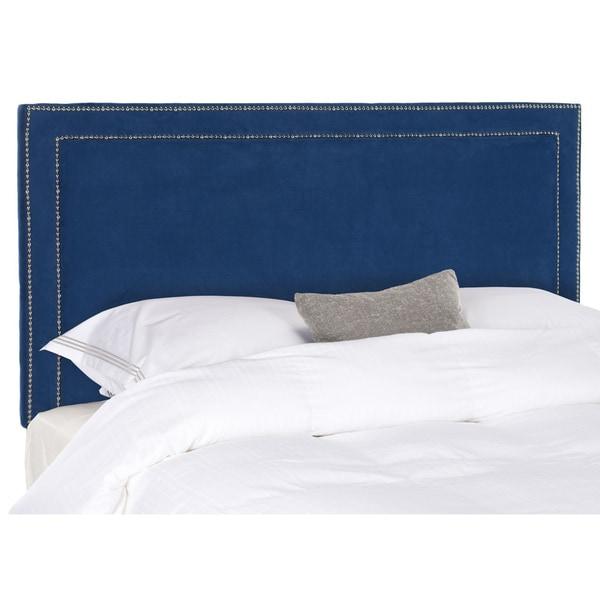 Safavieh cory royal blue velvet upholstered silver for Royal headboard