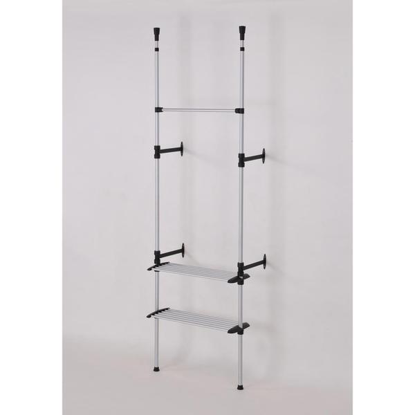 Modern Telescoping Clothing Rack with Shelves