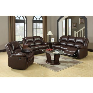 Furniture Of America Winsley 3 Piece Classic Plush Cushion Recliner Sofa Set