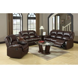 Furniture Of America Winsley 3 Piece Classic Plush Cushion Recliner Sofa Set Part 80