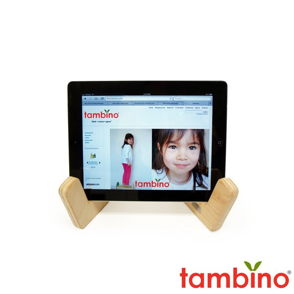 Tambino Toddler Tablet Stand in Natural and Lime