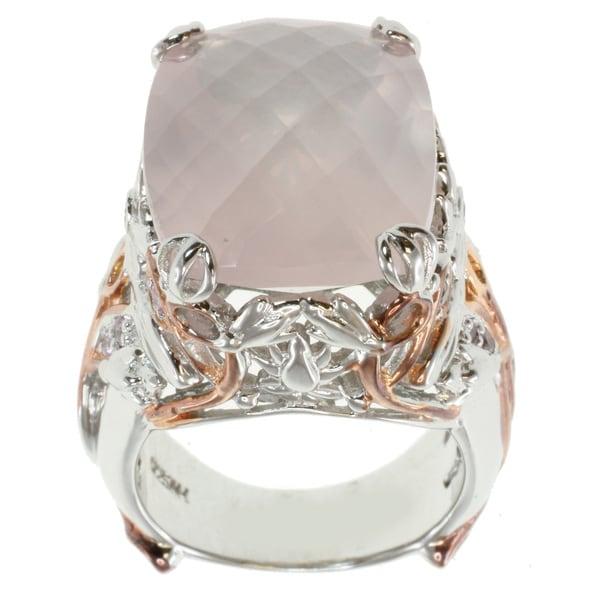 Michael Valitutti Two-tone Cushion-cut Rose Quartz Ring