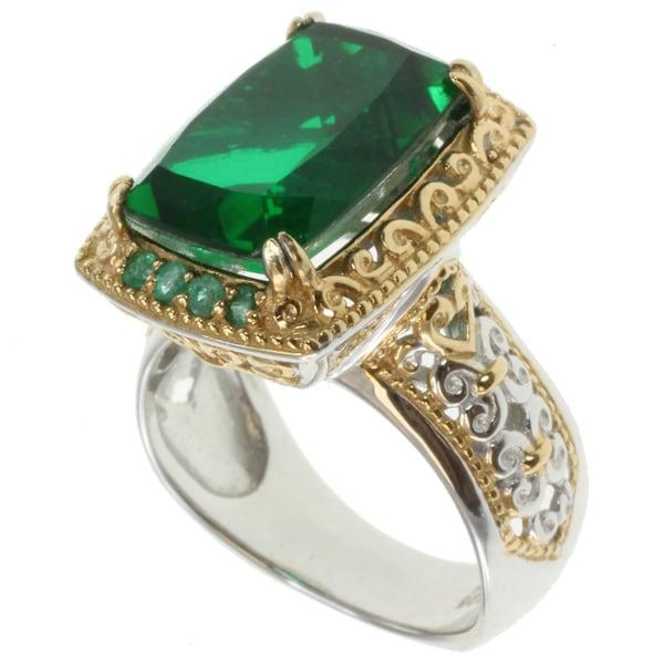 Michael Valitutti Two-tone Emerald Quartz and Emerald Ring