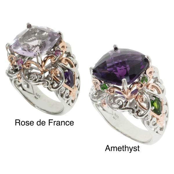 Michael Valitutti Two-tone Rose de France or African Amethyst Ring