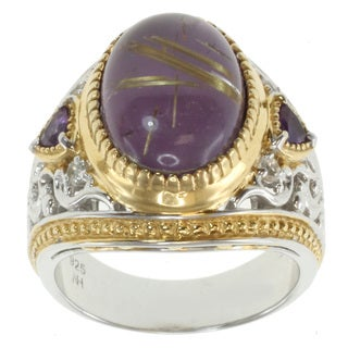 Michael Valitutti Two-tone Rutilated Amethyst Ring