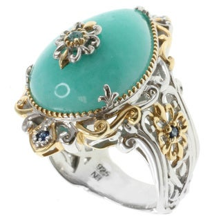 Michael Valitutti Two-tone Palladium-silver Amazonite Ring