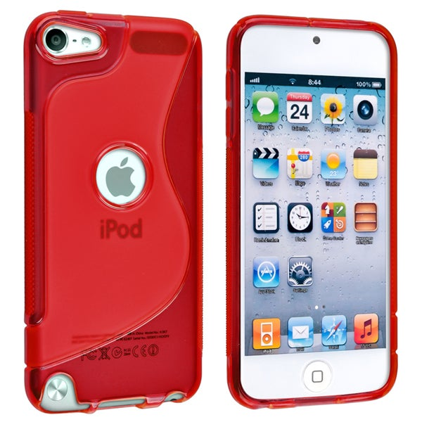 Insten Red S Shape TPU Rubber Candy Skin Glossy Case Cover For Apple iPod Touch 5th/ 6th Gen