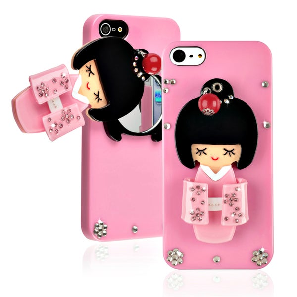 BasAcc Light Pink Kimono Girl Mirror Snap-on Case for Apple iPhone 5