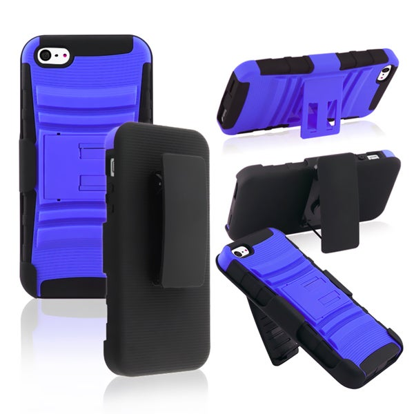 BasAcc Black/ Blue Hybrid Armor Case with Holster for Apple iPhone 5