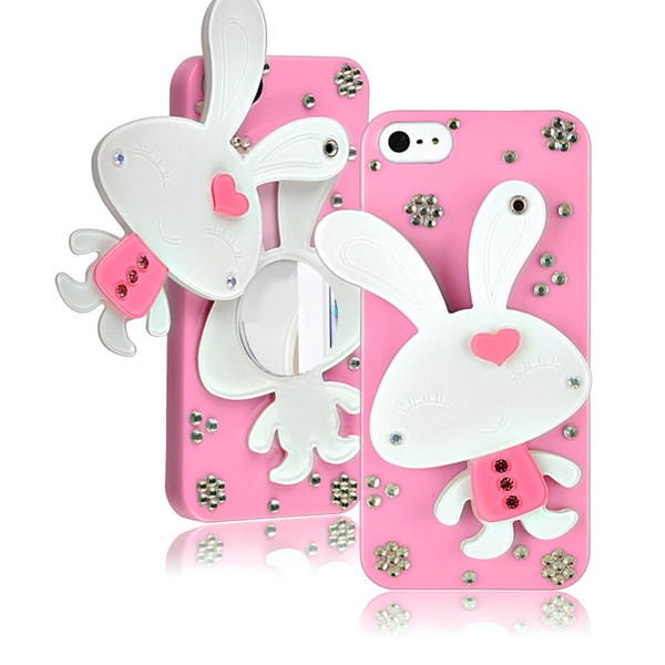 BasAcc Light Pink Rabbit Mirror Snap-on Case for Apple iPhone 5