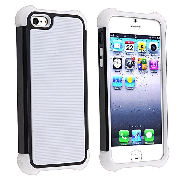 BasAcc White Skin/ Black Hard Hybrid Armor Case for Apple iPhone 5