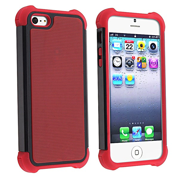 BasAcc Red Skin/ Black Hard Hybrid Armor Case for Apple iPhone 5
