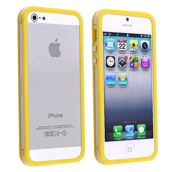INSTEN Clear/ Yellow Bumper TPU Phone Case Cover with Button for Apple iPhone 5/ 5S