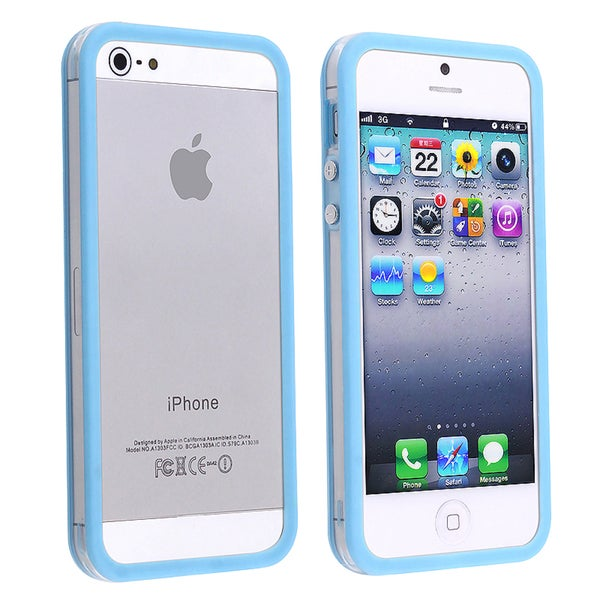 INSTEN Clear/ Sky Blue Bumper TPU Phone Case Cover with Button for Apple iPhone 5/ 5S