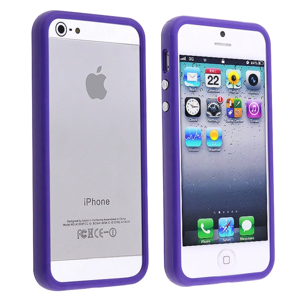INSTEN Blue Bumper TPU Phone Case Cover with Aluminum Button for Apple iPhone 5/ 5S