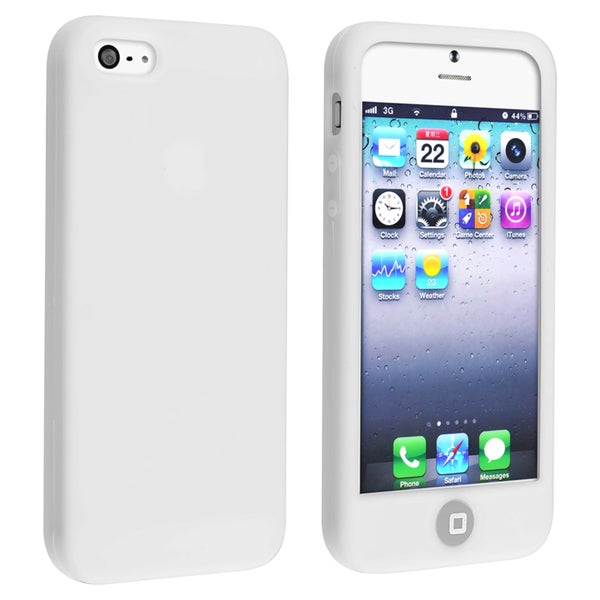 BasAcc White Silicone Case with Home Button for Apple iPhone 5