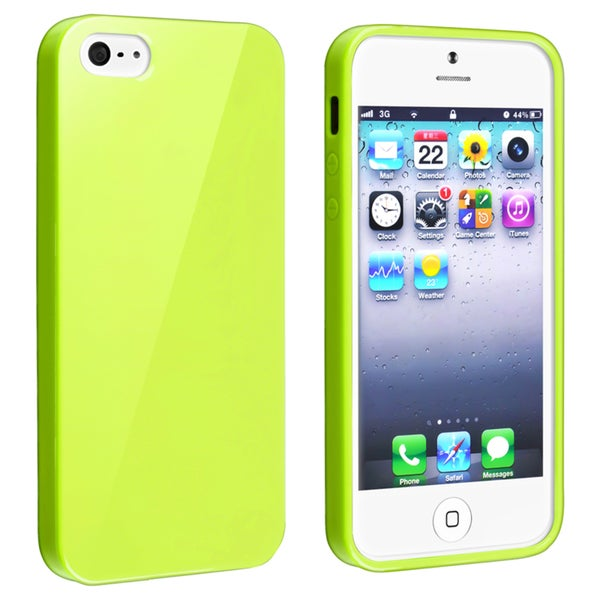 INSTEN Yellow Jelly TPU Rubber Phone Case Cover for Apple iPhone 5/ 5S