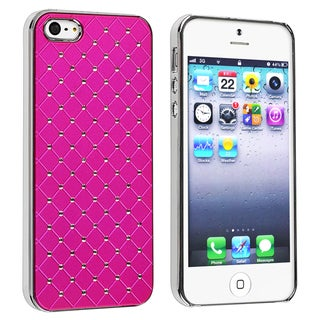 INSTEN Hot Pink Quilted Leather with Diamond Case Cover for Apple iPhone 5/ 5S