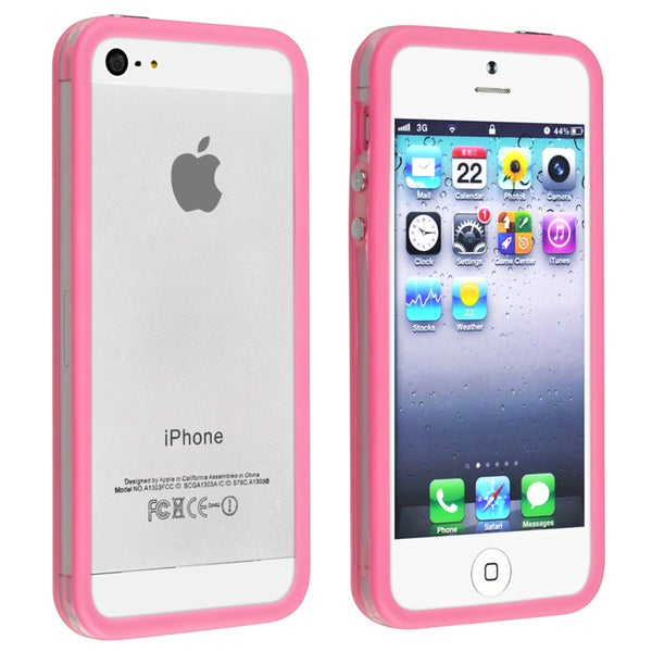 INSTEN Bumper TPU Phone Case Cover with Aluminum Button for Apple iPhone 5/ 5S