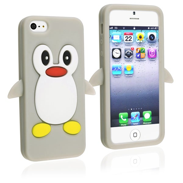 INSTEN Grey Penguin Soft Silicone Phone Case Cover for Apple iPhone 5