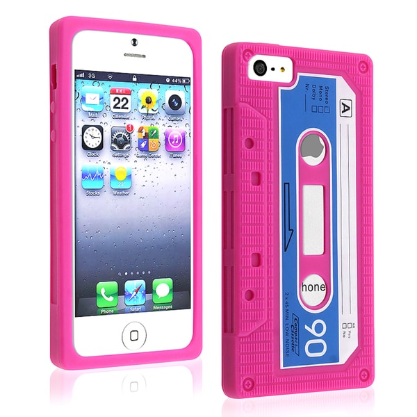 BasAcc Hot Pink Tape Silicone Case for Apple iPhone 5