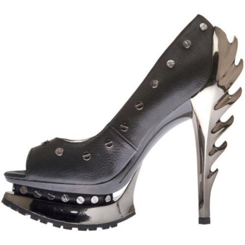 Women's Highest Heel Flame-41 Black Soft Polyurethane