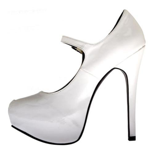 Women's Highest Heel Kissable-71 White Patent Polyurethane - Thumbnail 2