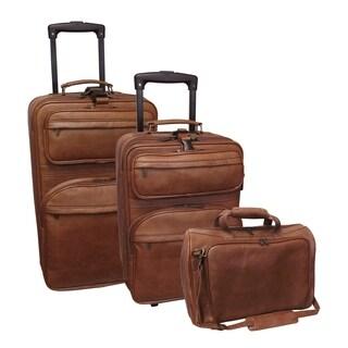 Amerileather Brown Leather 3-piece Traveler Set