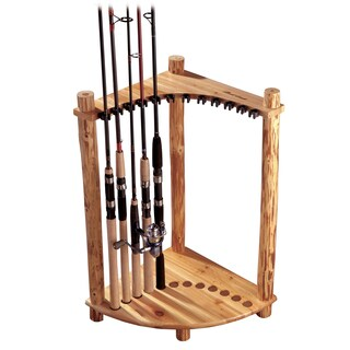 Rush Creek Brown Wood Corner Rod Rack