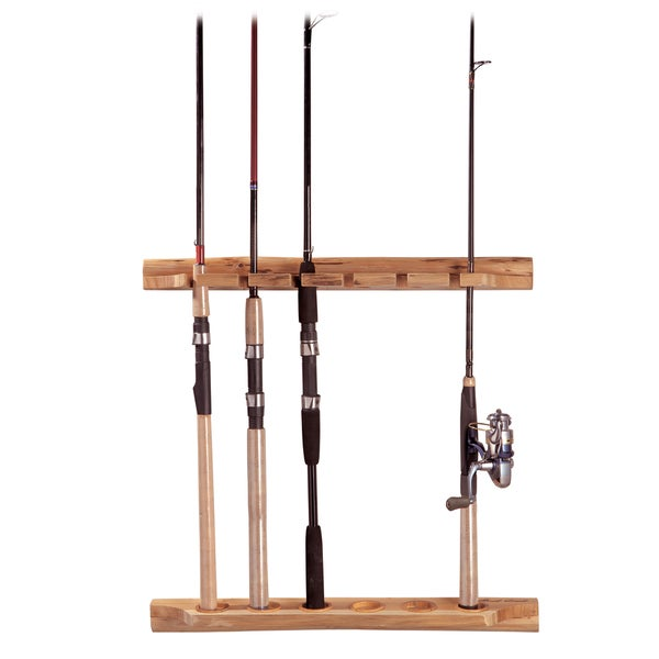 Rush creek 6 rod horizontal vertical rod holder free for Walmart fishing pole holder