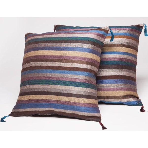 Set of Two Blue and Brown Striped Throw Pillows