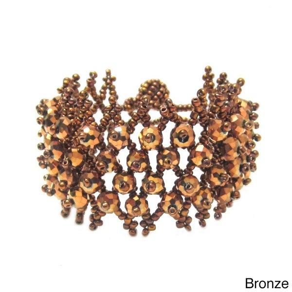 Bleek2sheek Crystal Beaded Weave Cuff Bracelet