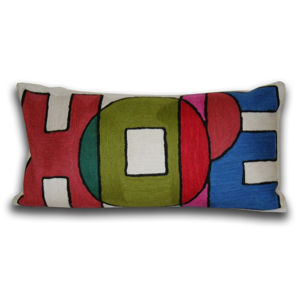 Marlo Lorenz 'Hope' 18-inch Cotton Decorative Pillow