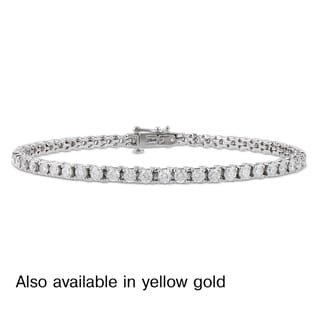 Miadora Signature Collection 14k White or Yellow Gold 4ct TDW Diamond Tennis Bracelet