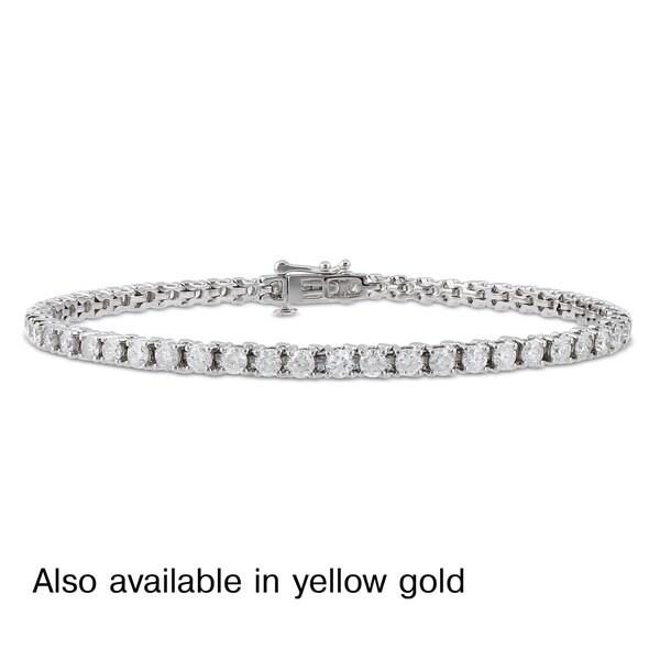 Miadora Signature Collection 14k White or Yellow Gold 4ct TDW Diamond Tennis Bracelet (G-H, I1-I2)