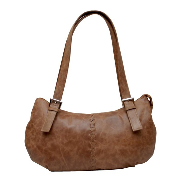 Buff Goatee Brown Leather Boat-shape Handbag