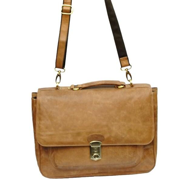 Kozmic Buff Goti Leather Laptop Messenger Bag