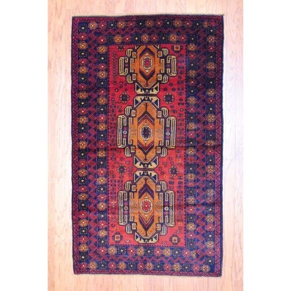 Afghan Hand-knotted Balouchi Rust/ Black Wool Rug (3'10 x 6'6)