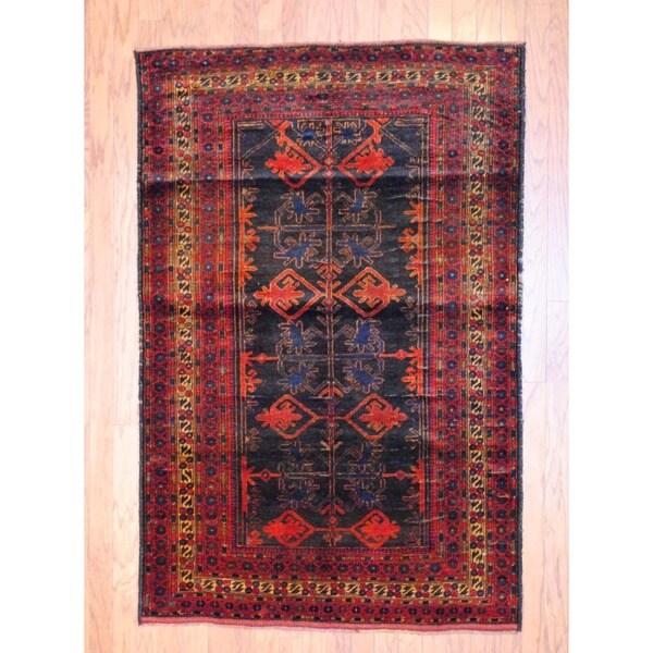 Afghan Hand-knotted Balouchi Black/ Burgundy Wool Rug (4' x 6'1)