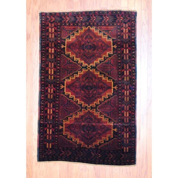 Afghan Hand-knotted Balouchi Light Brown/ Burgundy Wool Rug (3'8 x 5'9)