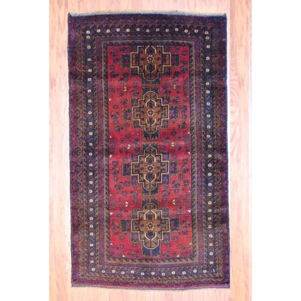 Afghan Hand-knotted Balouchi Red/ Black Wool Rug (3'10 x 6'7)