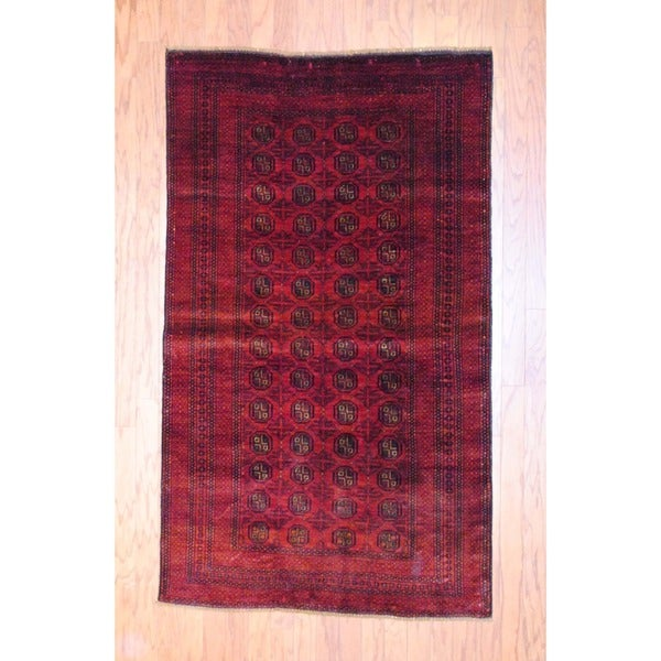 Afghan Hand-knotted Balouchi Red/ Black Wool Rug (3'8 x 6')