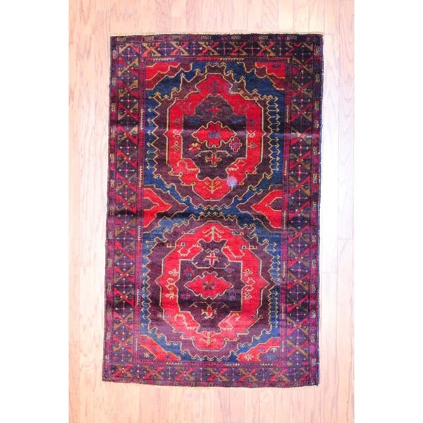 Afghan Hand-knotted Balouchi Navy/ Red Wool Rug (3'7 x 5'10)
