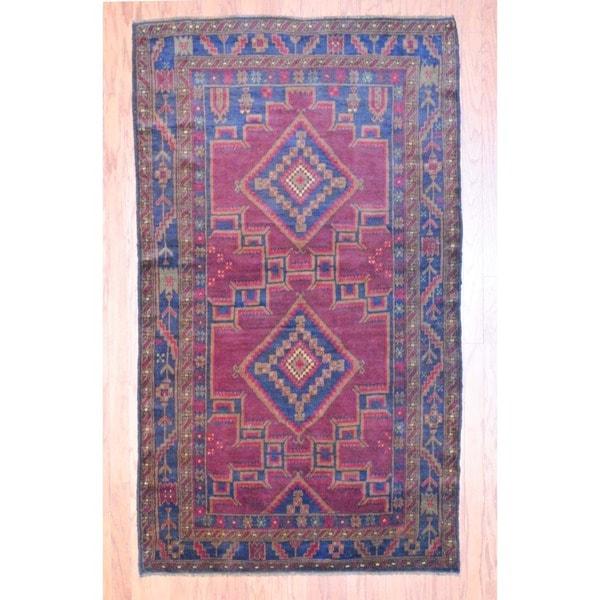 Afghan Hand-knotted Balouchi Burgundy/ Charcoal Wool Rug (4' x 7')