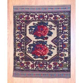 Herat Oriental Afghan Hand-knotted Soumak Balouchi Wool Rug (4'6 x 5'8)