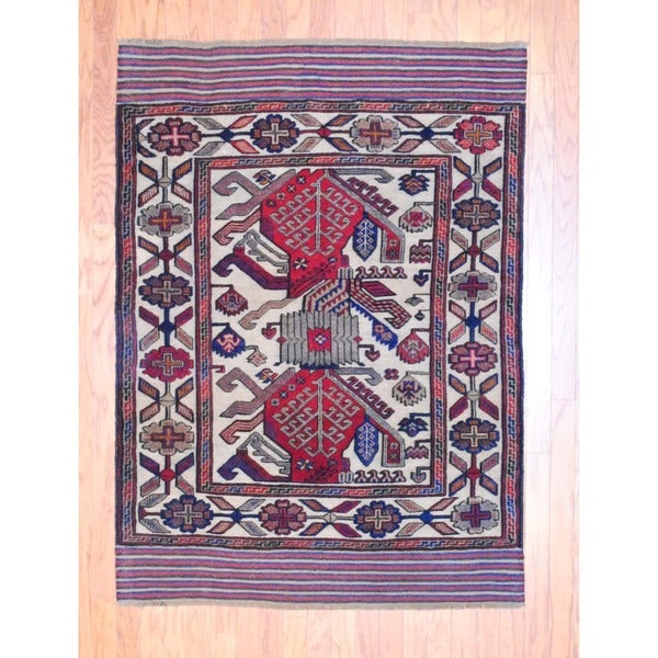 Herat Oriental Afghan Hand-knotted Soumak Balouchi Ivory/ Red Wool Rug (4'3 x 5'10)