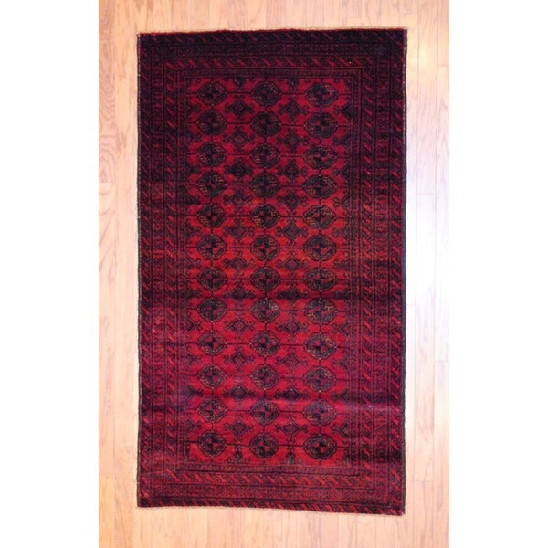 Afghan Hand-knotted Balouchi Red/ Black Wool Rug (3'7 x 6'5)