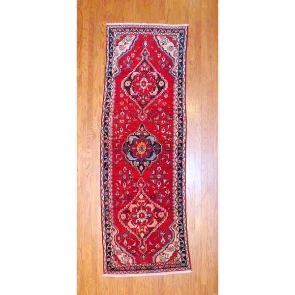 Persian Hand-knotted 1980's Hamadan Red/ Navy Wool Runner (3'7 x 10'3)