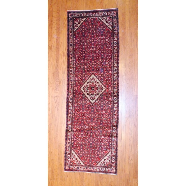 Persian Hand-knotted 1970's Hamadan Red/ Ivory Wool Runner (3'6 x 11')