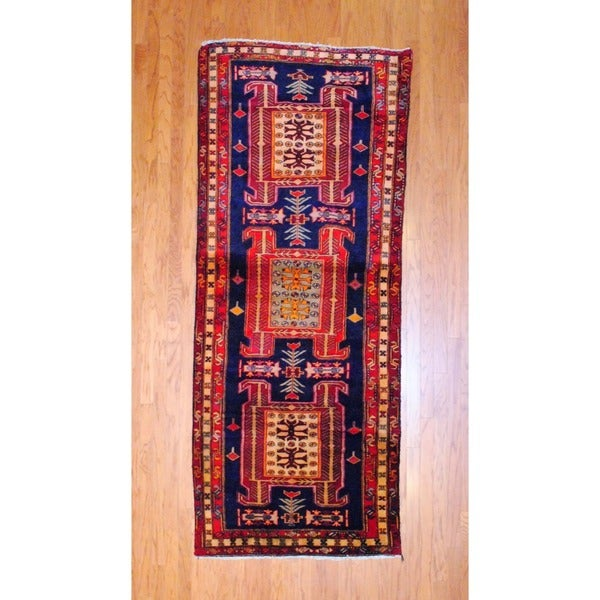Persian Hand-knotted 1970's Hamadan Navy/ Red Wool Runner (3'10 x 9'8)